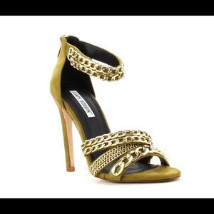 Cape Robin Olive suede Chain Heels